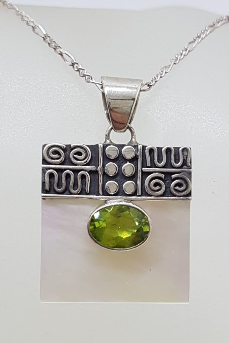 Sterling Silver Ornate Top Square Mother of Pearl with Oval Peridot Pendant on Silver Chain