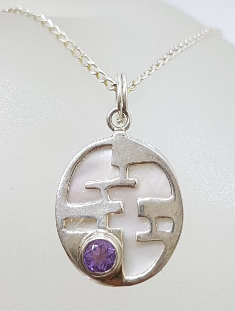 Sterling Silver Oval Mother of Pearl with Round Amethyst Pendant on Silver Chain