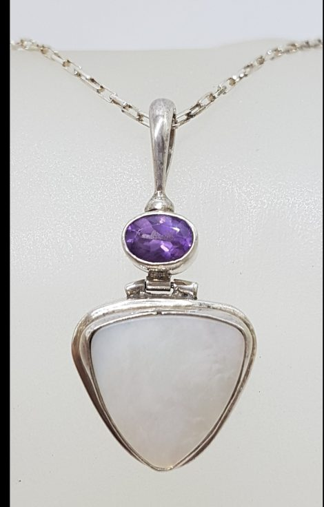 Sterling Silver Triangular Mother of Pearl with Oval Amethyst Pendant on Silver Chain