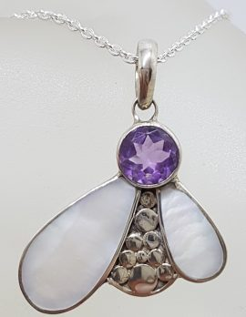 "Sterling Silver Mother of Pearl with Round Amethyst Abstract "" Bee "" Pendant on Silver Chain"