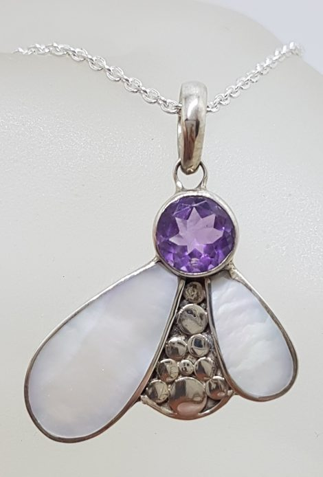 """Sterling Silver Mother of Pearl with Round Amethyst Abstract """" Bee """" Pendant on Silver Chain"""