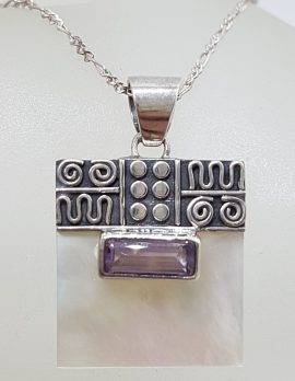 Sterling Silver Ornate Top Square Mother of Pearl with Rectangular Amethyst Pendant on Silver Chain