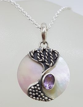 Sterling Silver Round Patterned Mother of Pearl with Oval Amethyst Pendant on Silver Chain