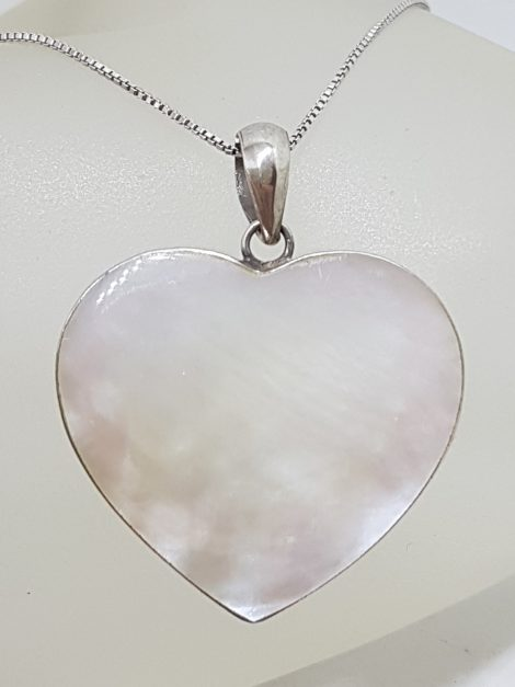 Sterling Silver Mother of Pearl Large Heart Pendant on Silver Chain