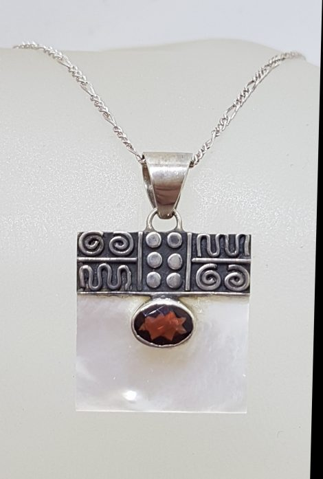 Sterling Silver Ornate Top Square Mother of Pearl with Oval Garnet Pendant on Silver Chain