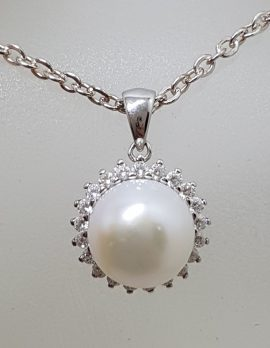 Sterling Silver Pearl with Cubic Zirconia Cluster Pendant on Silver Chain