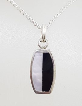 Sterling Silver Dainty Black / White Mother of Pearl Pendant on Silver Chain