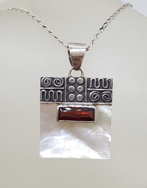 Sterling Silver Ornate Top Square Mother of Pearl with Rectangular Garnet Pendant on Silver Chain
