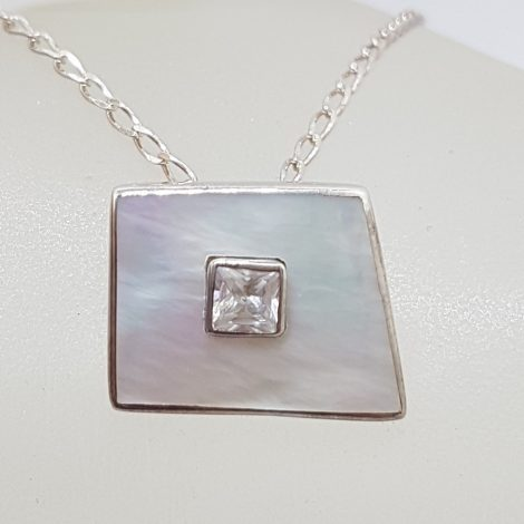 Sterling Silver Mother of Pearl with Cubic Zirconia Unusual Shape Pendant on Silver Chain