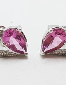 9ct White Gold Pink Tourmaline and Diamond Heart Stud Earrings