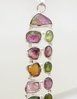 Sterling Silver Long Multi-Colour Pink, Green and Watermelon Tourmaline Pendant on Silver Chain