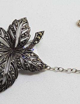 Sterling Silver Marcasite Ornate Leaf Brooch - Vintage / Antique