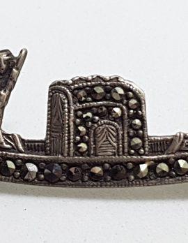 Sterling Silver Marcasite Venetian Gondola Brooch - Vintage / Antique