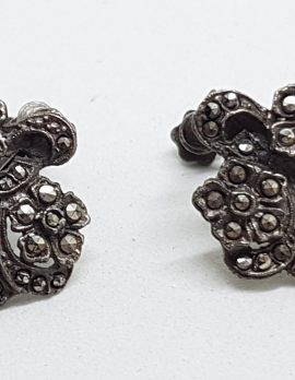 Sterling Silver Vintage Marcasite Floral with Bow Design Screw-On Earrings