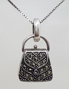 Sterling Silver Vintage Marcasite Handbag / Bag Pendant on Chain
