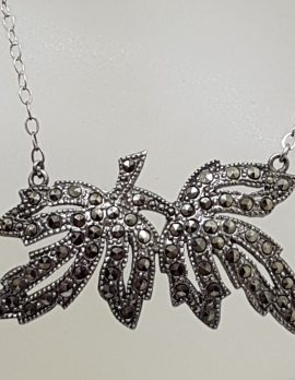 Sterling Silver Vintage Marcasite Leaf Design Necklace / Chain