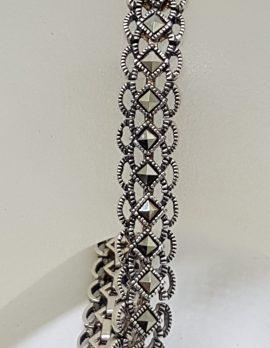 Sterling Silver Vintage Marcasite Bracelet - Ornate Filigree Design