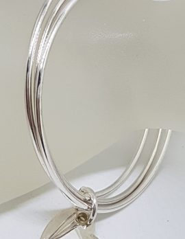 Sterling Silver Tiffany and Co. 3 Bangles with Heart Charm