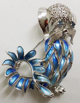 Sterling Silver Ornate Blue Enamel Dog Brooch - Vintage