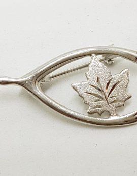 Sterling Silver Leaf in Wishbone Brooch - Vintage