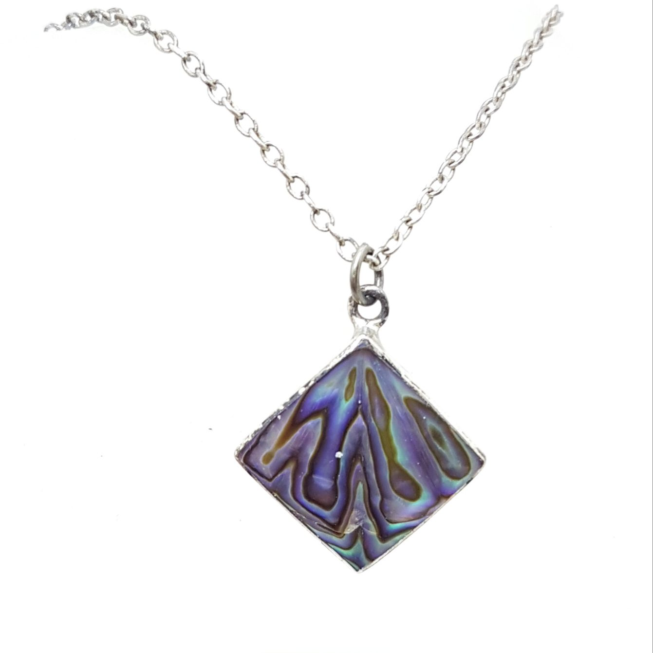 Sterling Silver Square Paua Shell Pendant on Silver Chain - Vintage