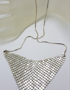 Sterling Silver V Shape Glomesh Style Necklace - Long