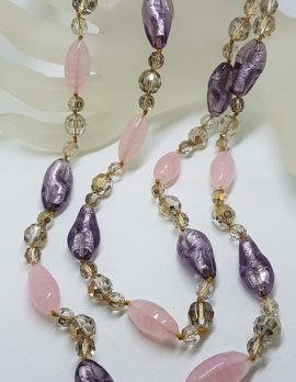 Magnificent Murano Glass Two Strand Bead Necklace with Purple, Pink and Golden Beads - Antique / Vintage