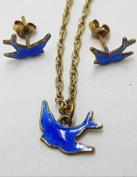 Sterling Silver Blue Bird of Happiness Pendant and Stud Earring Set