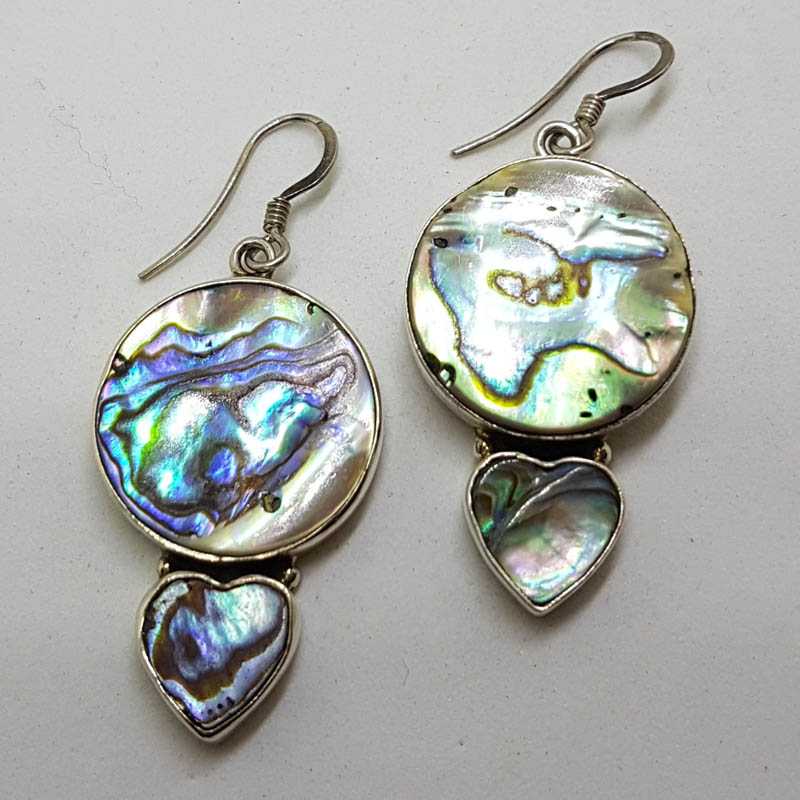 Sterling Silver Large Round and Heart Shape Paua Shell Drop Earrings