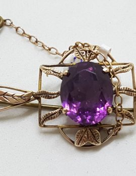 9ct Rose Gold Oval Amethyst in Ornate Set Bar Brooch - Antique / Vintage