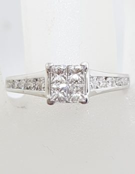 18ct White Gold Square Diamond with Channel Set Diamond Sides Engagement / Dress Ring