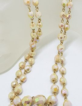 Vintage Crystal Two Strand Cream Coloured Crystal Bead Necklace