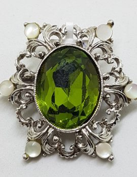 Vintage Plated Ornate Green with White Brooch