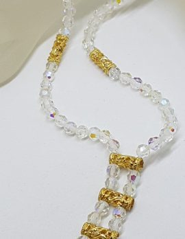 Vintage Clear Crystal with Plated Ornate Bead Necklace