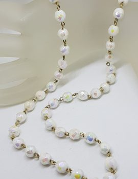 Vintage Single Strand White Crystal Bead Necklace