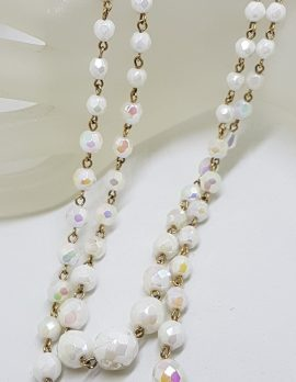 Vintage 2 Strand White Crystal Bead Necklace