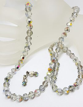 Vintage Crystal Bead Necklace and Earring Set - Grey