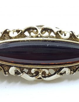 Vintage Plated Purple with White Enamel Brooch