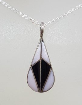 Sterling Silver Black and White Enamel Teardrop / Pear Shape Pendant on Silver Chain - Vintage
