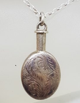 Sterling Silver Vintage Ornate Oval Perfume / Scent Bottle Pendant on Silve Chain