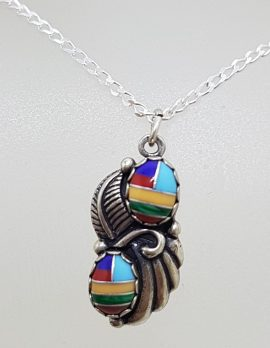 Sterling Silver Multi-Colour Enamel Pendant on Silver Chain