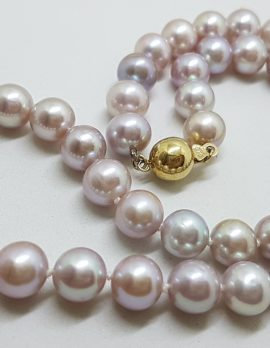 9ct Yellow Gold Ball Clasp on Pink Freshwater Pearl Necklace / Chain - Thick