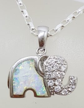 Sterling Silver Elephant with Cubic Zirconia Pendant on Chain