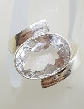 Sterling Silver Large Oval Clear Crystal Quartz Ring