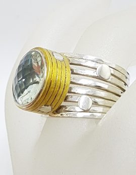 Sterling Silver Large Prasiolite / Green Amethyst in Plated Round Setting on Wide Band Ring