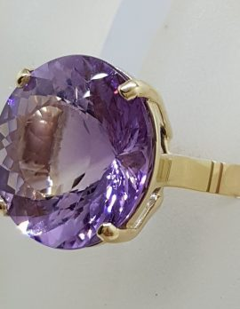 9ct Yellow Gold Large Round Claw Set Amethyst Cocktail Ring