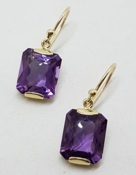 9ct Yellow Gold Rectangular Amethyst Drop Earrings