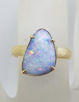 9ct Yellow Gold Triangular Claw Set Multi Colour Opal Ring - Cooper Pedy