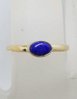 9ct Yellow Gold Bezel Set Oval Lapis Lazuli Ring