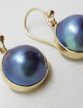 9ct Yellow Gold Bezel Set Round Dark Blue / Black Mabe Pearl Drop Earrings